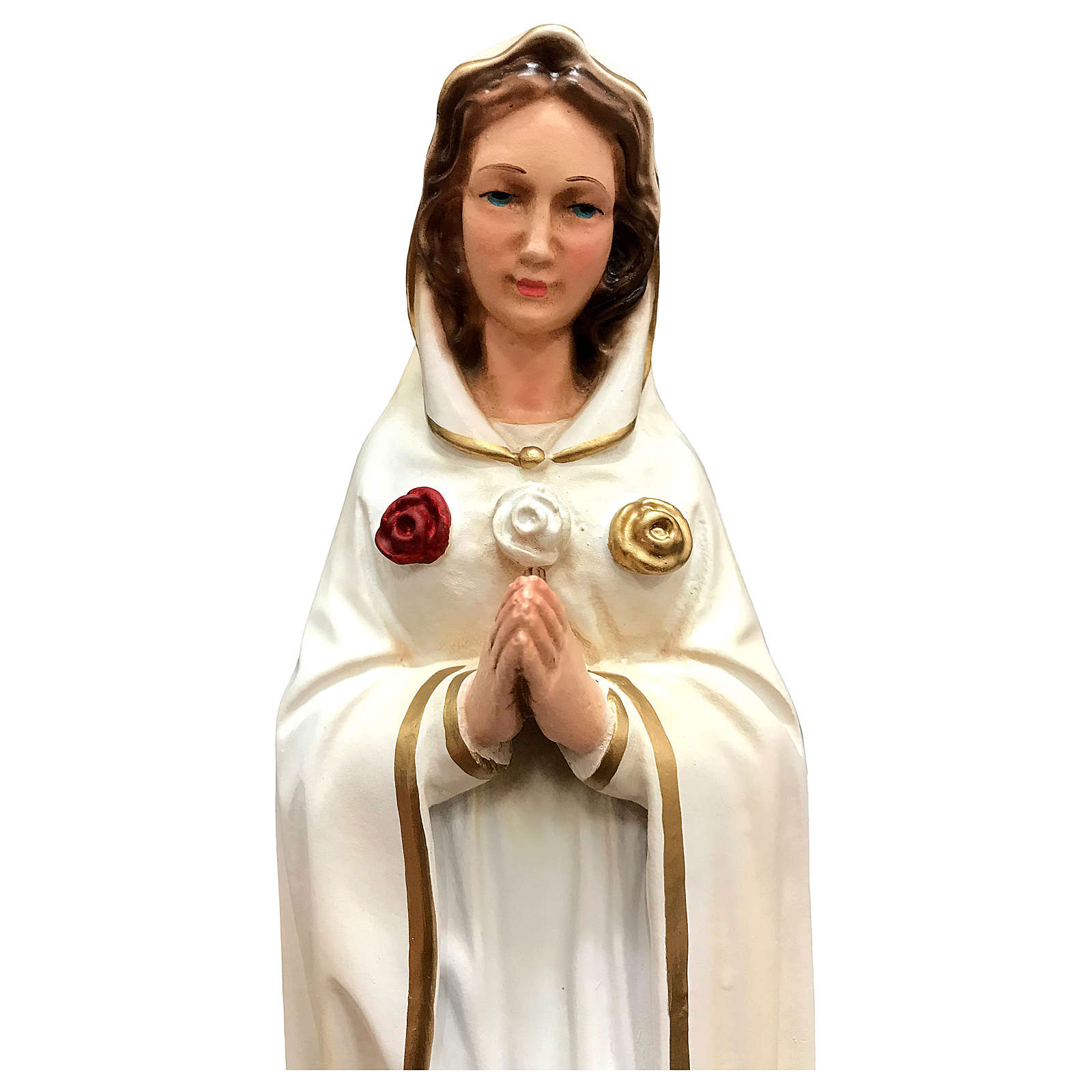 Statua Madonna Rosa Mistica resina 30 cm dipinta 4
