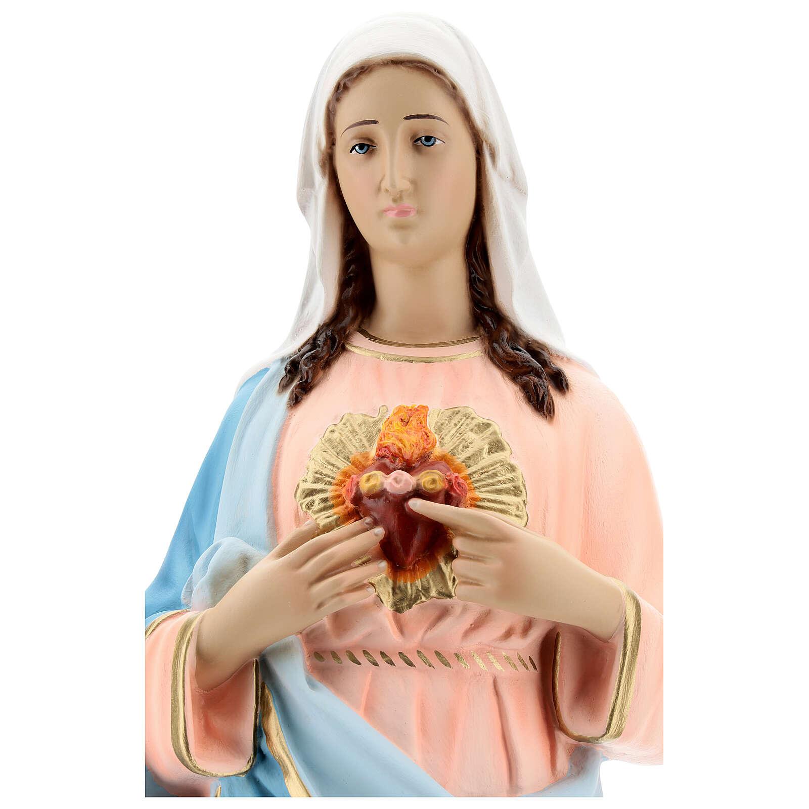 Statua Madonna Sacro cuore di Maria vetroresina 65 cm dipinta 4