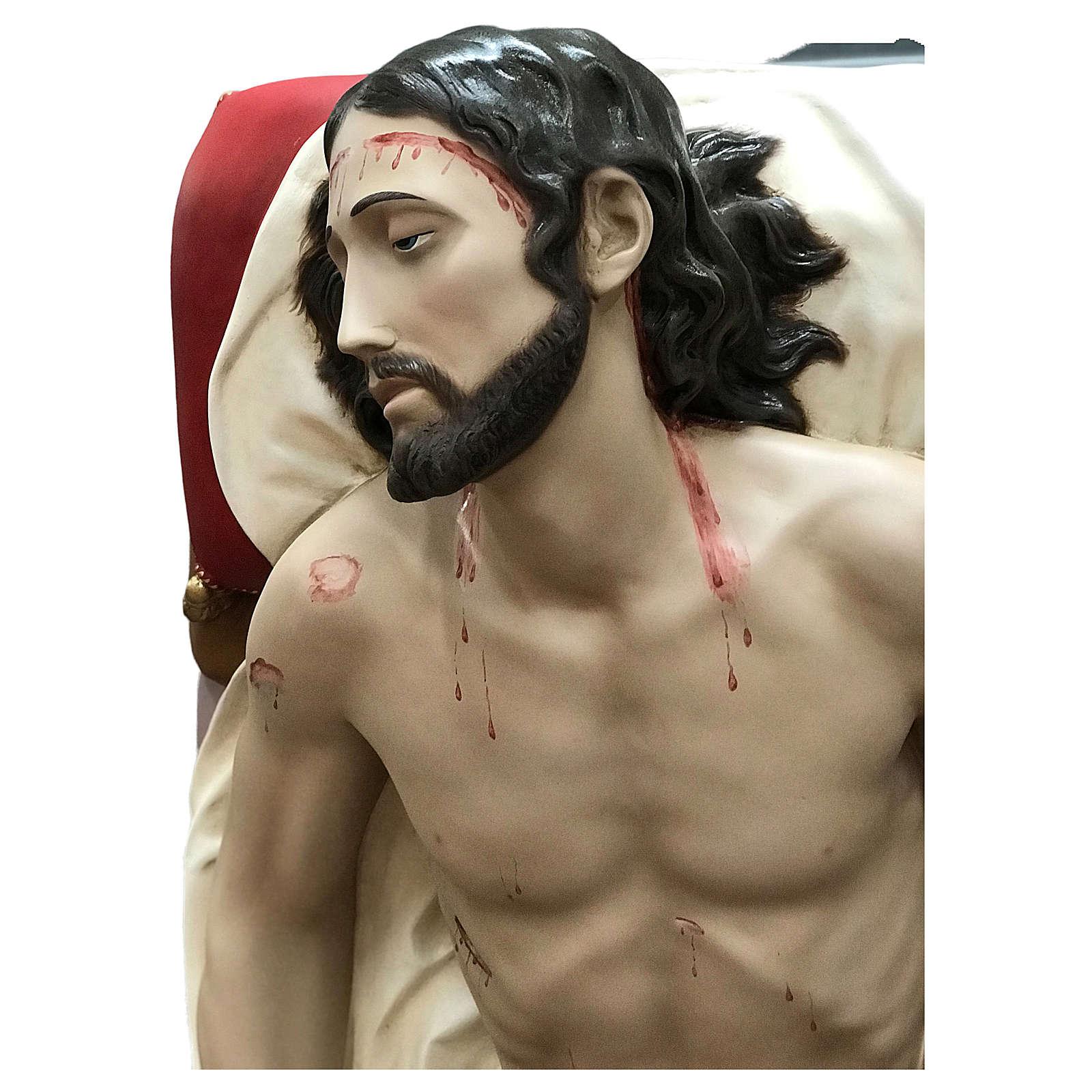 Statua Cristo morto vetroresina 155 cm dipinta 4