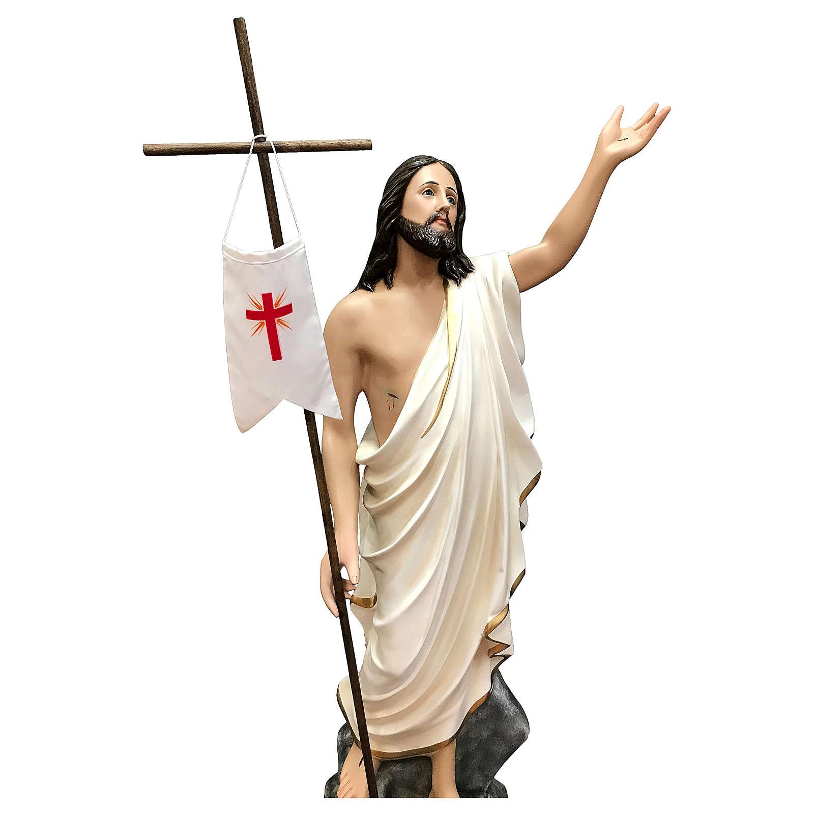 Statue Christ ressuscité fibre de verre 110 cm peinte 4