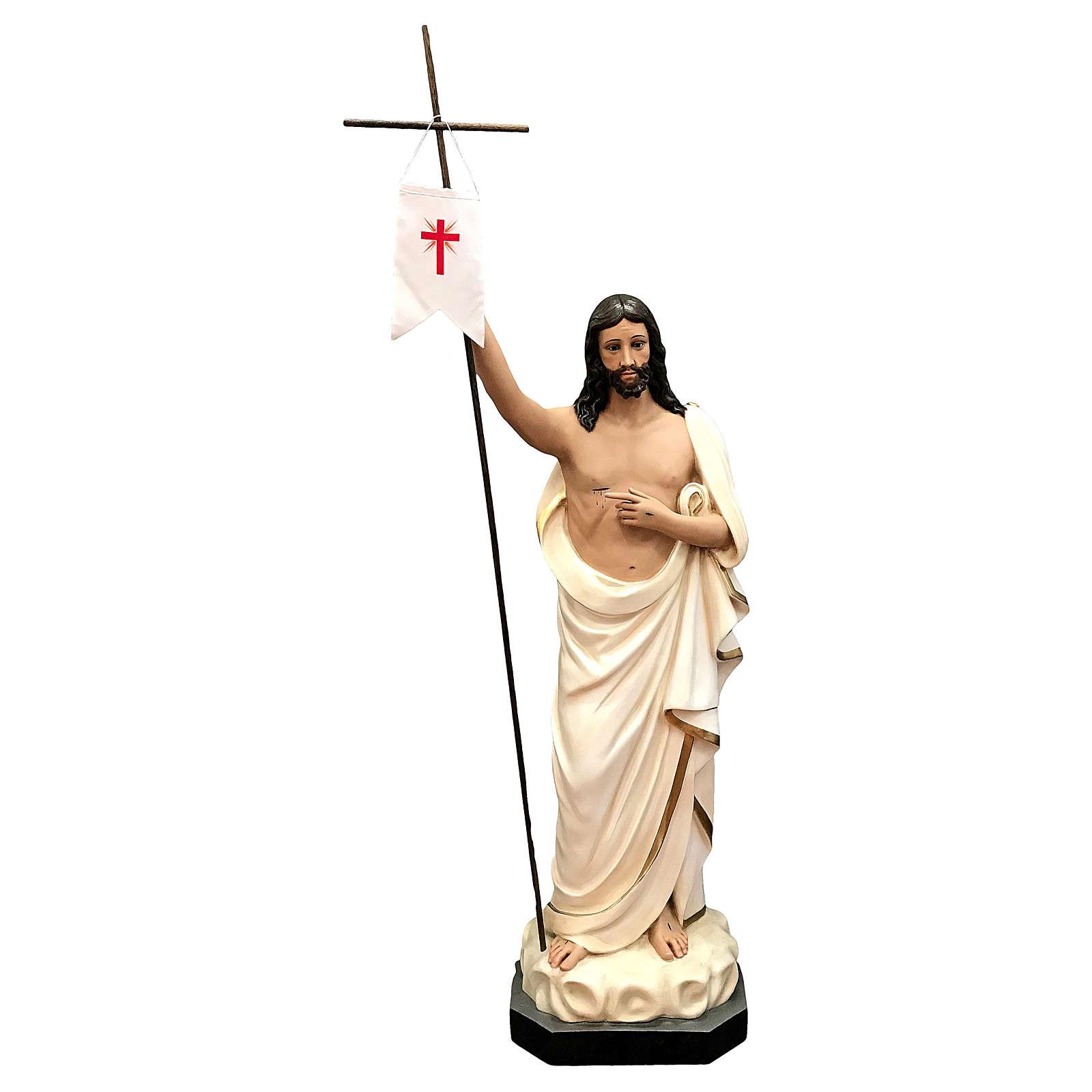 Estatua Cristo resucitado fibra de vidrio 125 cm pintada ojos de cristal 4