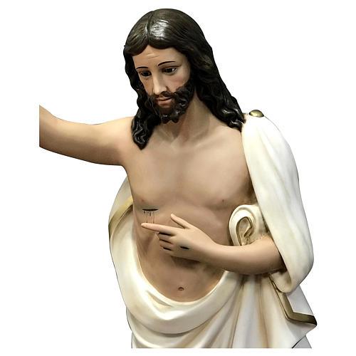 Estatua Cristo resucitado fibra de vidrio 125 cm pintada ojos de cristal 2