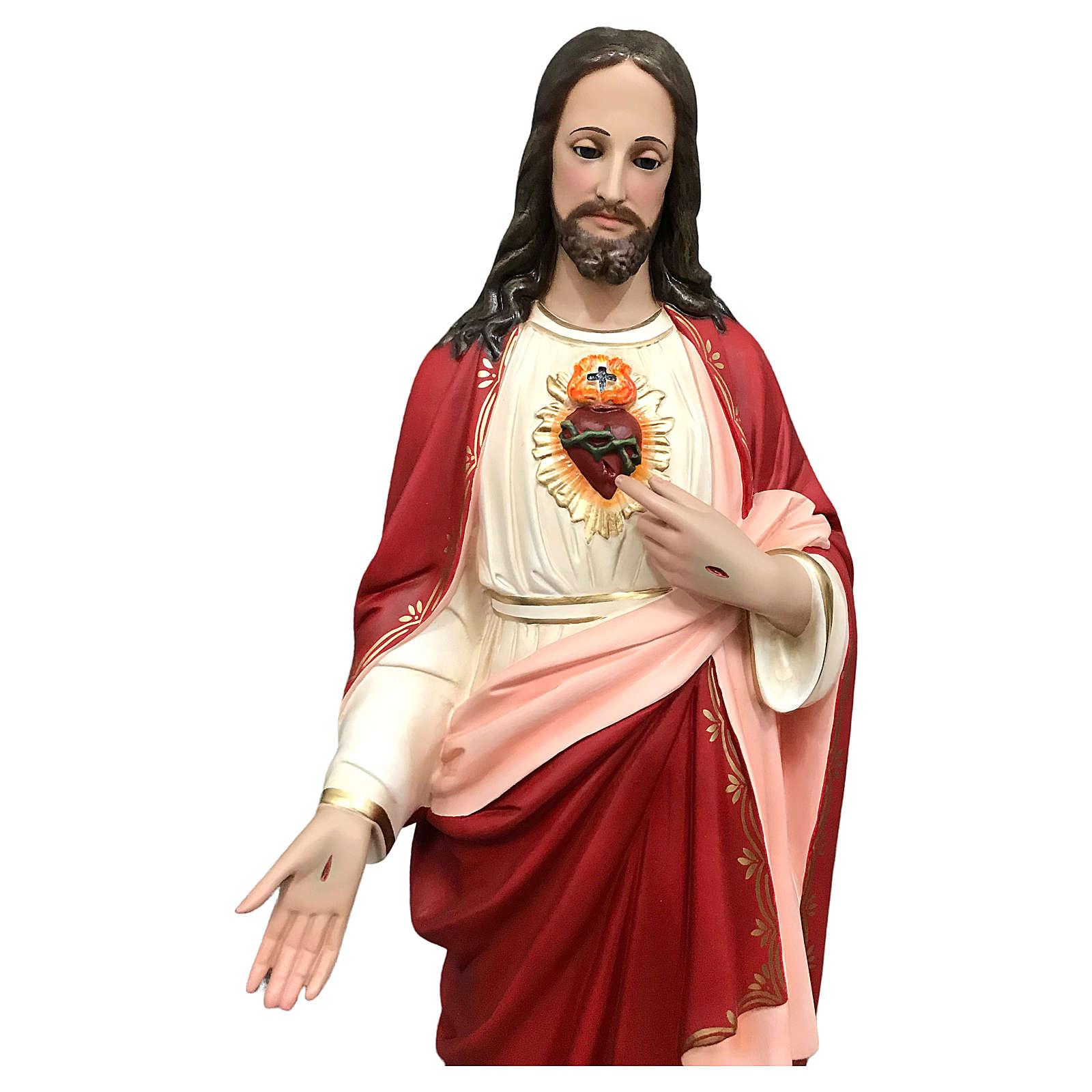 Statua Gesù Sacro Cuore 85 cm vetroresina dipinta occhi vetro 4