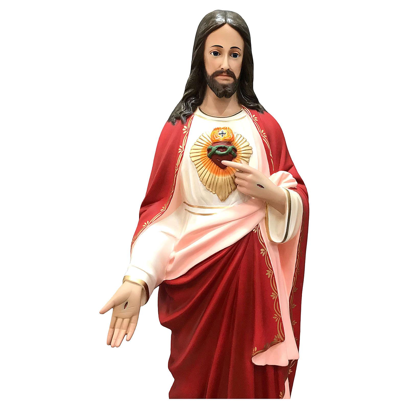 Statua Gesù Sacro Cuore 110 cm vetroresina dipinta occhi vetro 4