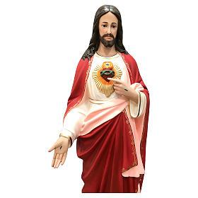 Imagem Sagrado Coração de Jesus 110 cm olhos de vidro Fibra de Vidro Pintada