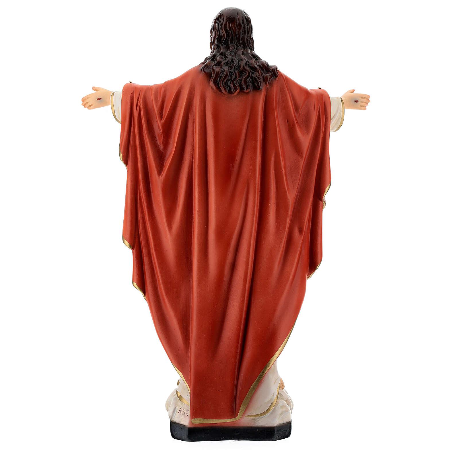 Estatua Jesús Sagrado Corazón brazos abiertos 40 cm resina pintada 4
