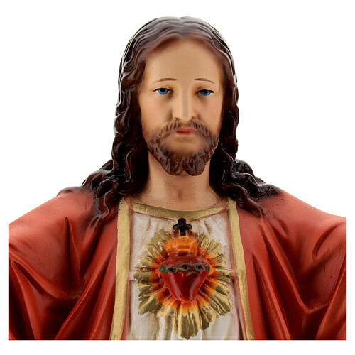 Statua Gesù Sacro Cuore braccia aperte 40 cm resina dipinta 4
