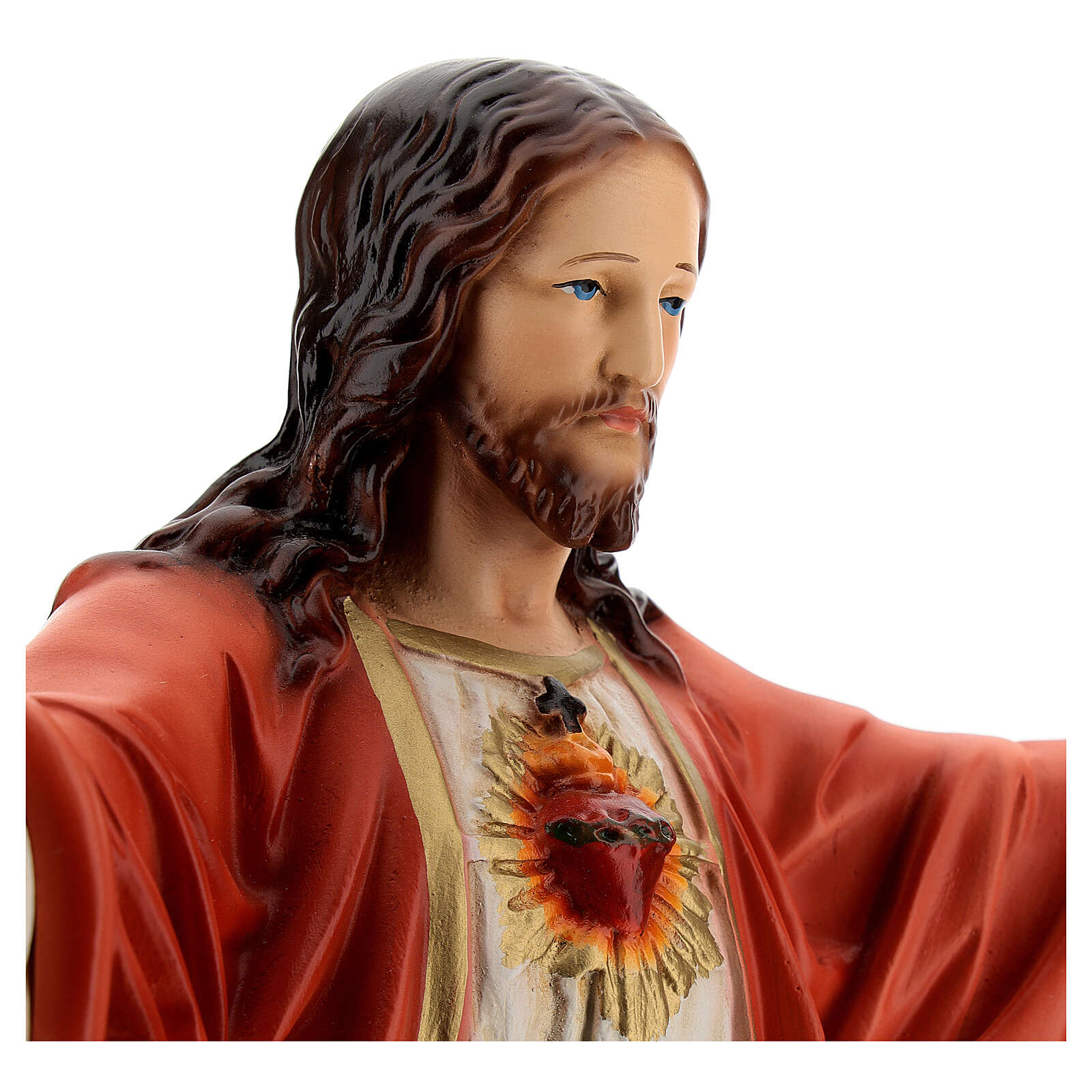 Sacred Heart of Jesus statue open arms, 16 in painted resin 4