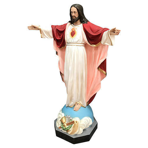 Statue of the Sacred Heart of Jesus with open arms in fibreglass 85 cm 3
