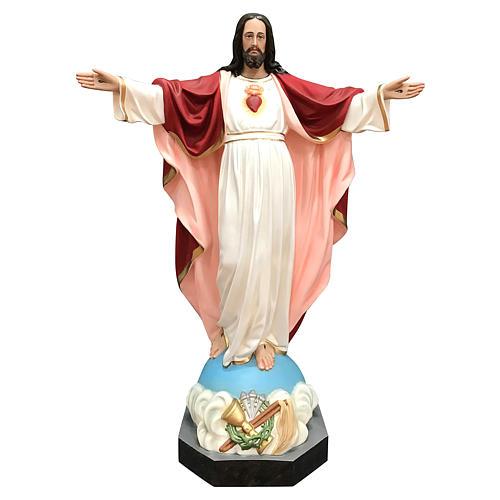 Statua Gesù Sacro Cuore braccia aperte 85 cm vetroresina dipinta 1