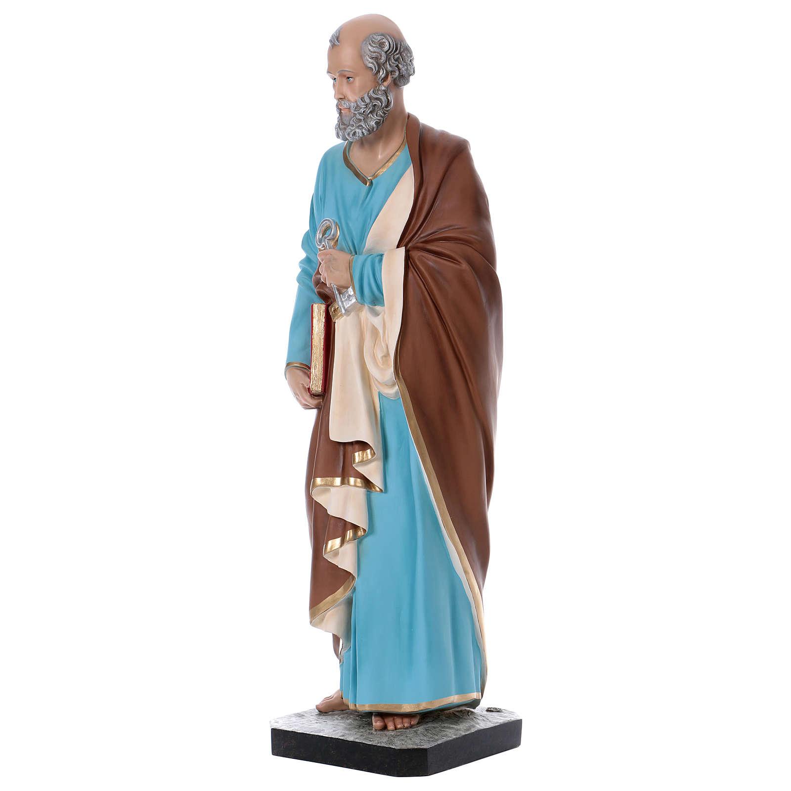 Estatua San Pedro 110 cm fibra de vidrio coloreada 4