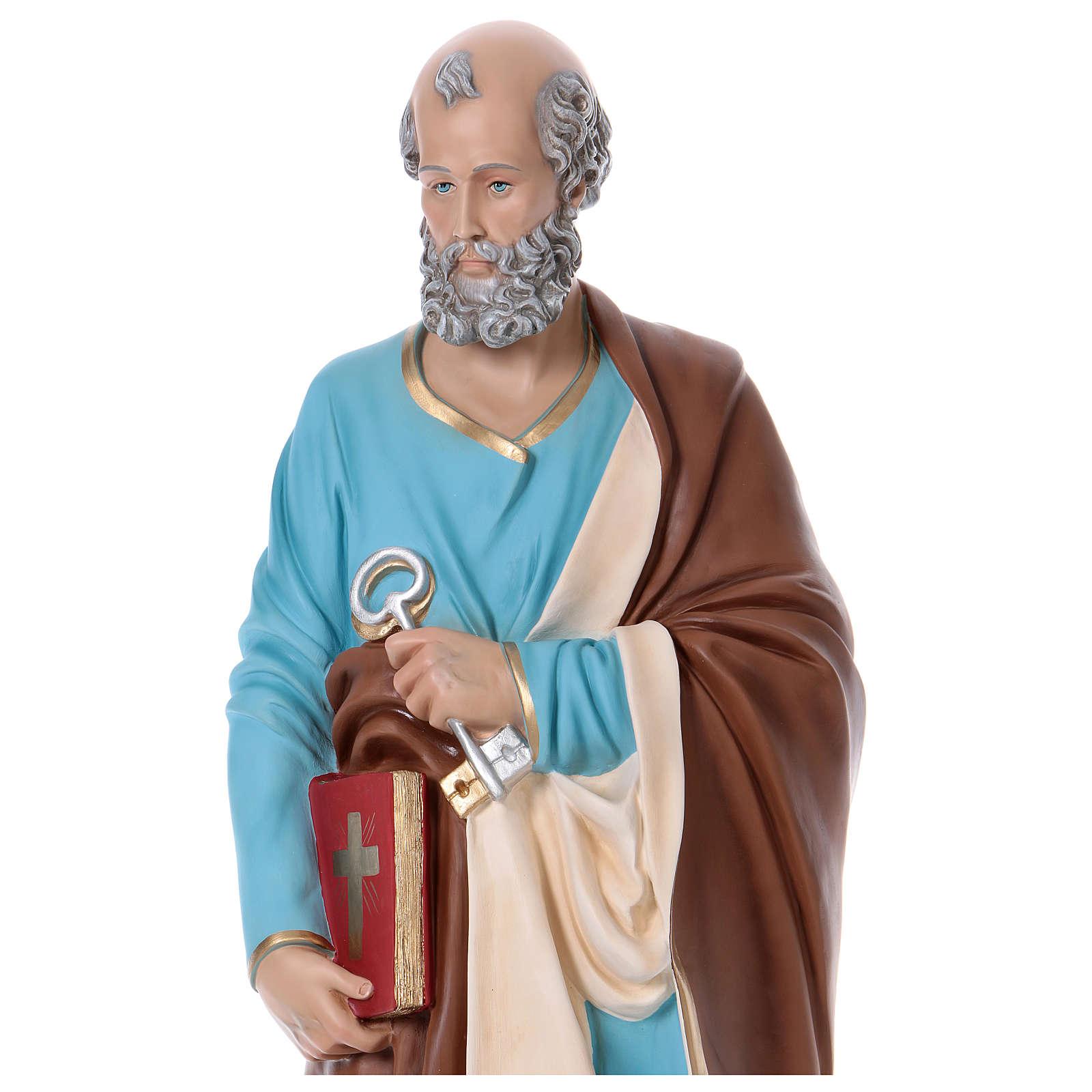 Statue Saint Pierre 110 cm fibre de verre colorée 4