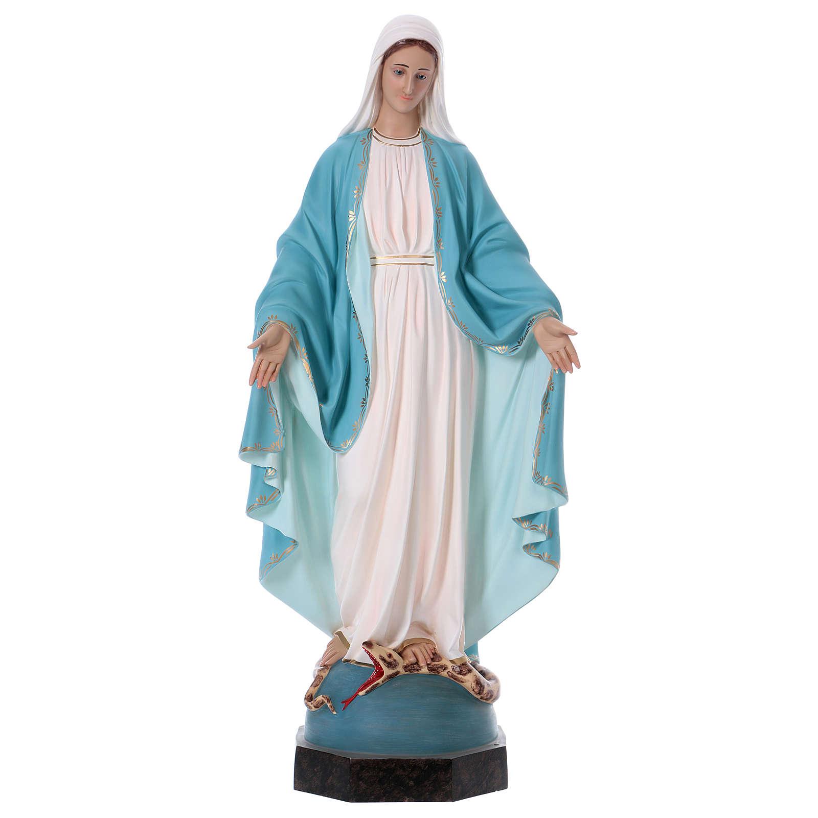 Virgen Milagrosa 110 cm fibra de vidrio coloreada ojos de vidrio 4