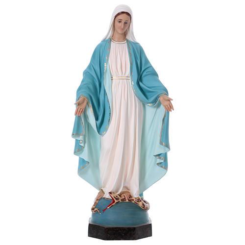 Virgen Milagrosa 110 cm fibra de vidrio coloreada ojos de vidrio 1