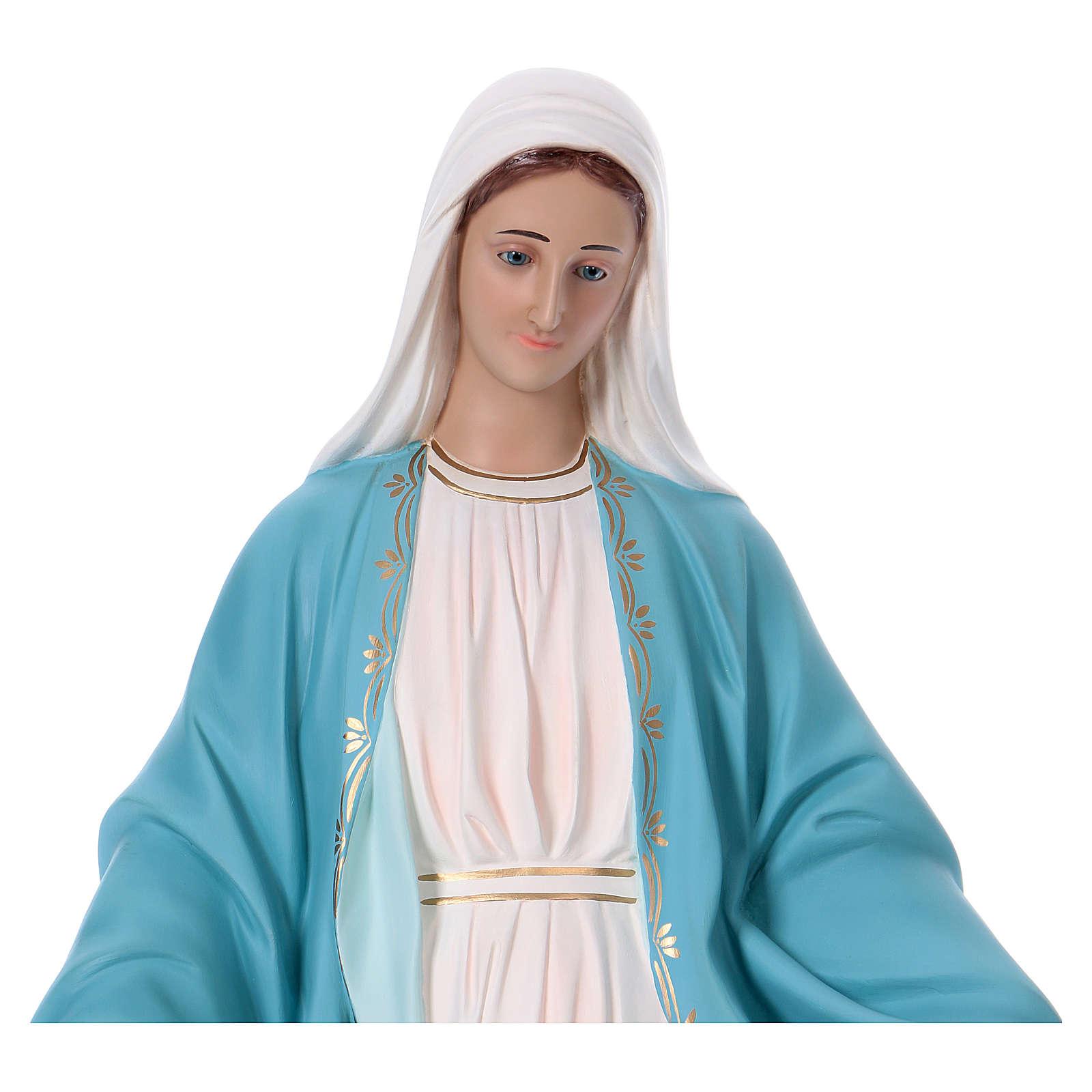 Vierge Miraculeuse 110 cm fibre de verre colorée yeux en verre 4