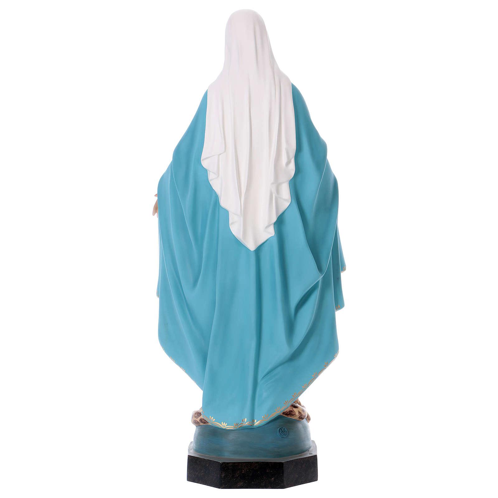 Madonna Miracolosa 110 cm vetroresina colorata occhi di vetro 4