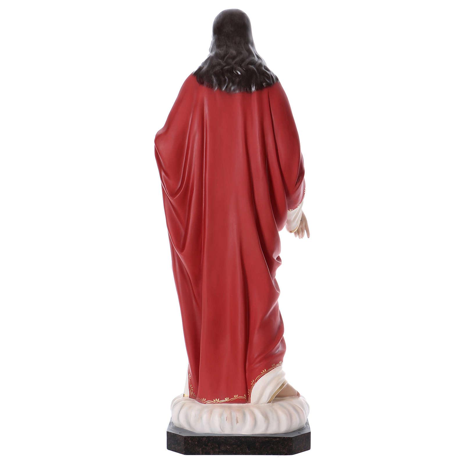 Sacro Cuore di Gesù 165 cm vetroresina colorata occhi di vetro 4