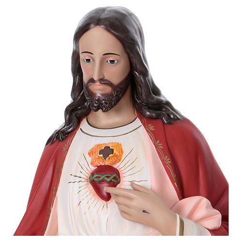 Sacro Cuore di Gesù 165 cm vetroresina colorata occhi di vetro 2