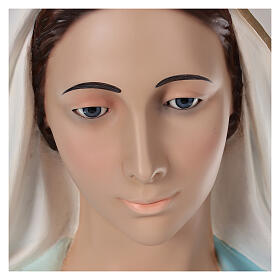 Our Lady of Grace statue 180 cm, in painted fiberglass glass eyes s4