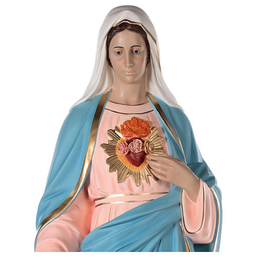 Sagrado Corazón María 165 cm fibra de vidrio pintada ojos vidrio 2