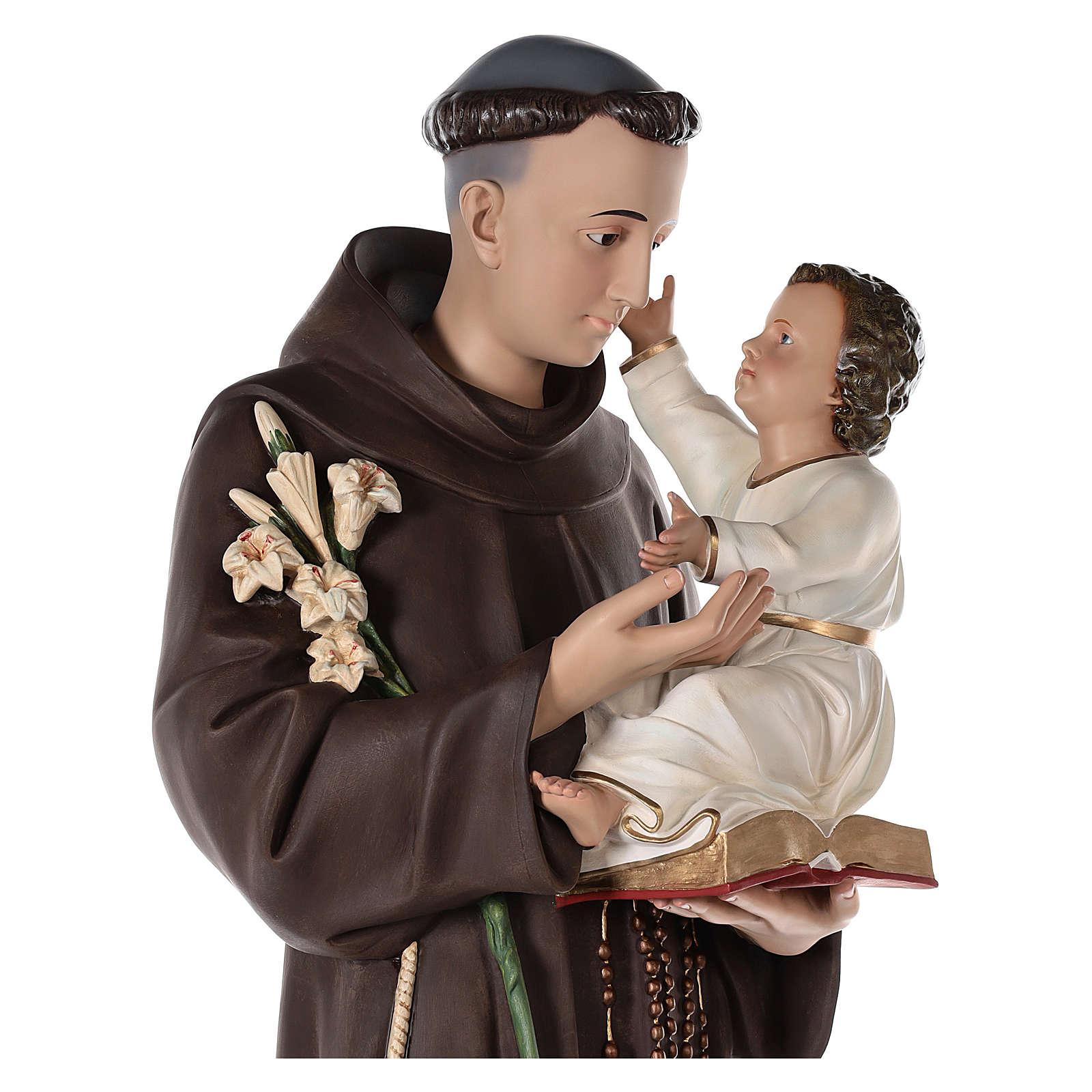 Sant'Antonio da Padova 160 cm vetroresina dipinta occhi vetro 4