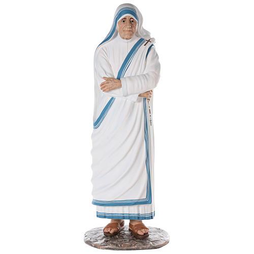 Santa Teresa de Calcuta cm 150 fibra de vidrio pintada ojos vidrio 1