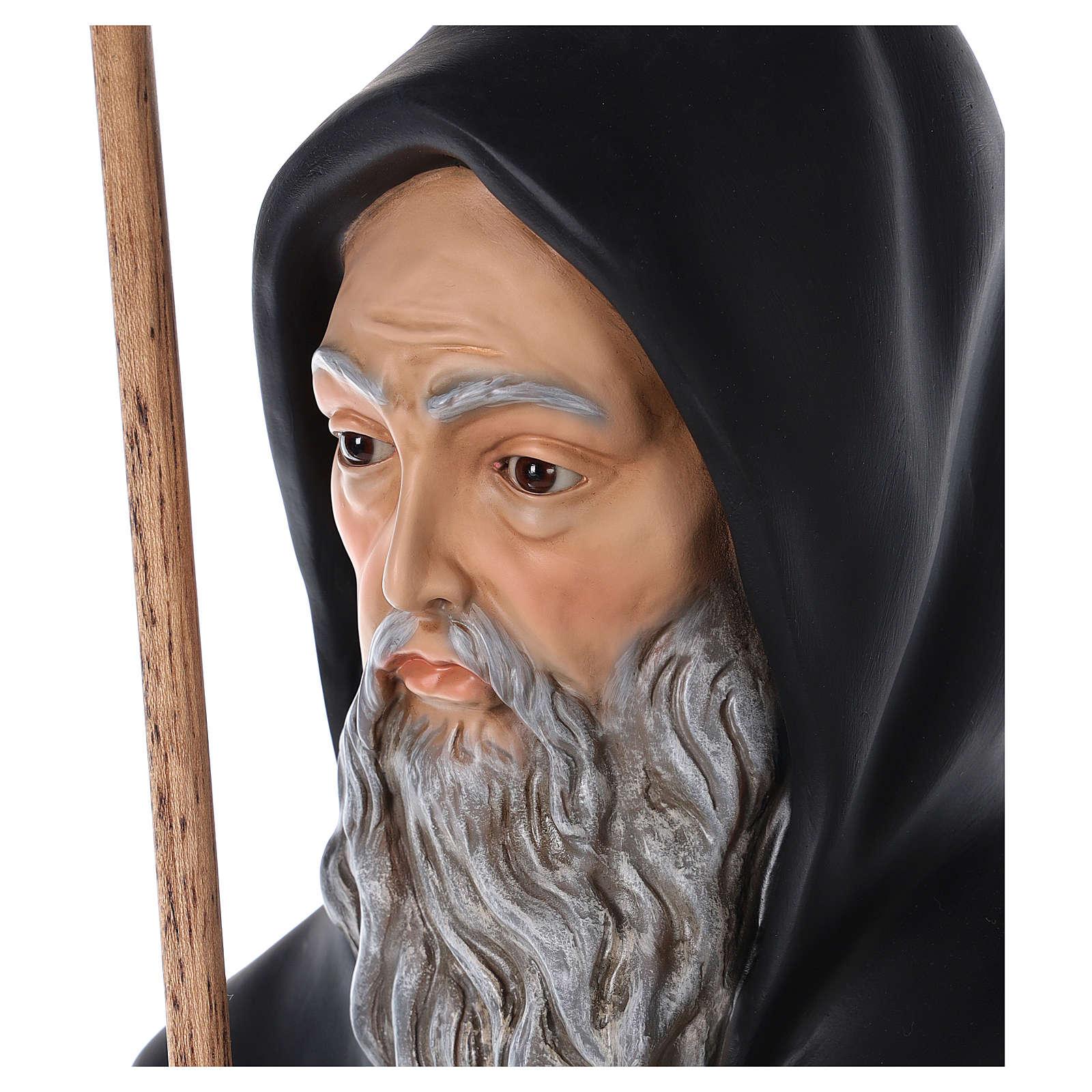 San Francesco di Paola vetroresina colorata 115 cm occhi vetro 4