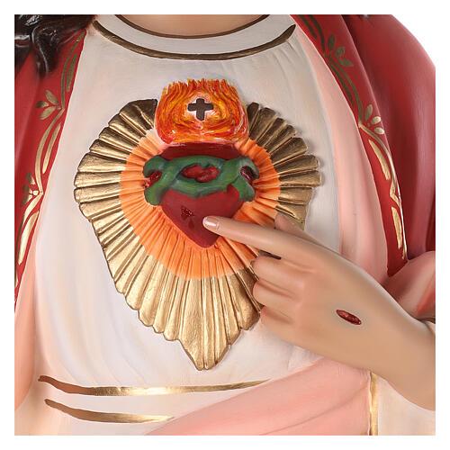 Sagrado Corazón de Jesús fibra de vidrio coloreada 110 cm ojos de vidrio 2