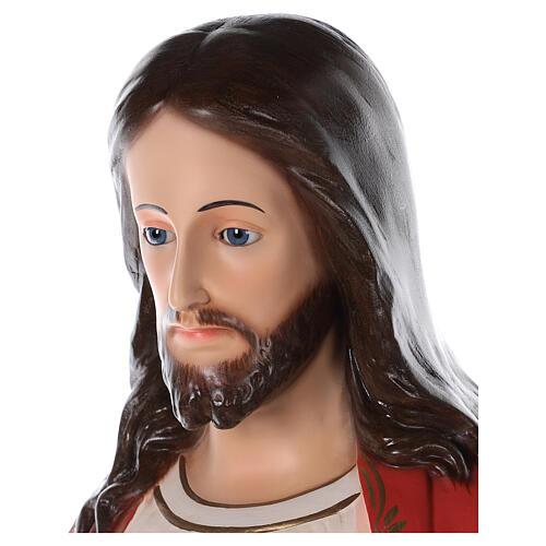 Sagrado Corazón de Jesús fibra de vidrio coloreada 110 cm ojos de vidrio 4