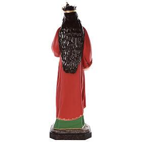 Santa Lucía estatua fibra de vidrio coloreada 160 cm ojos vidrio s7