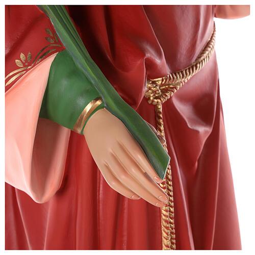 Santa Lucía estatua fibra de vidrio coloreada 160 cm ojos vidrio 6