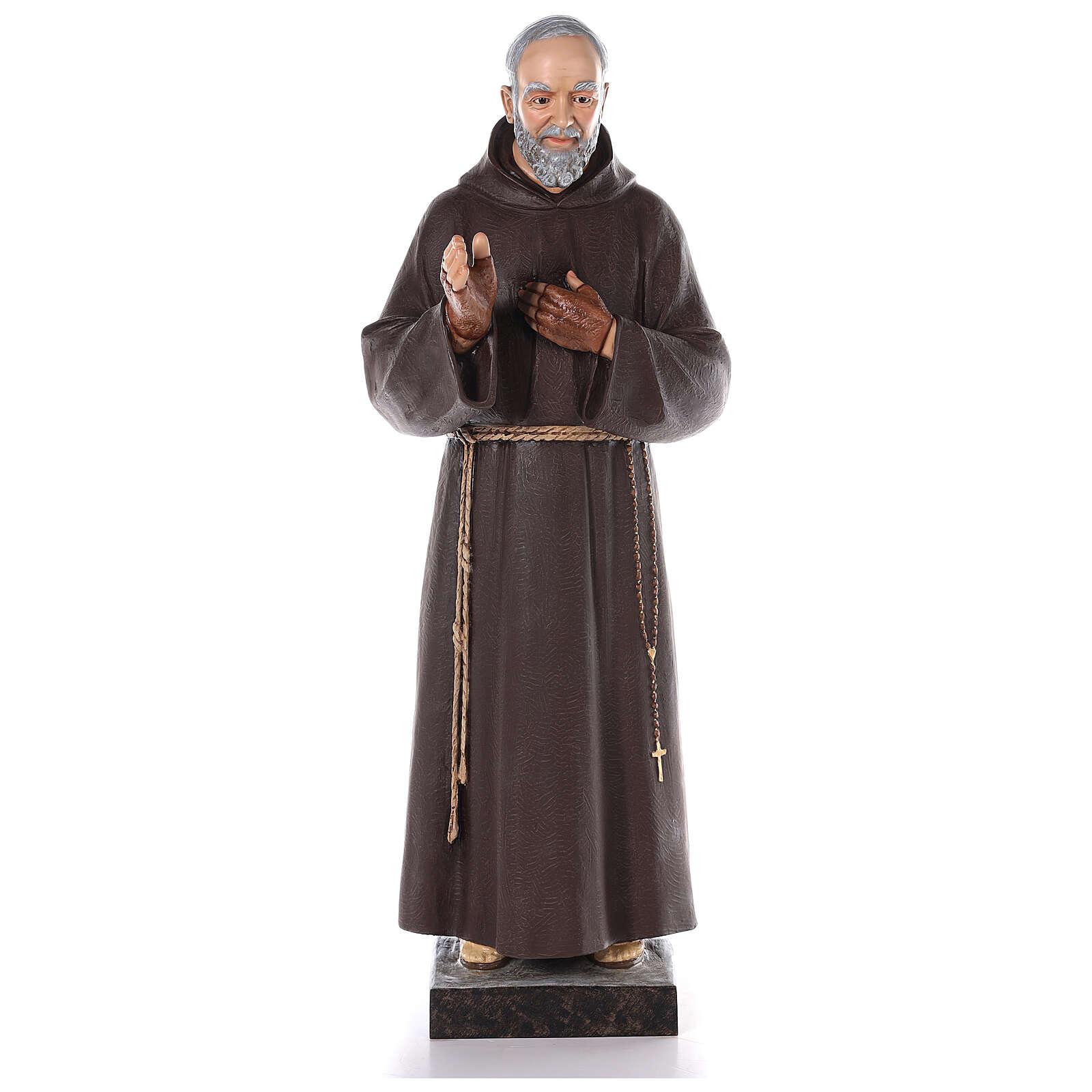 San Padre Pío fibra de vidrio coloreada 110 cm ojos vidrio 4