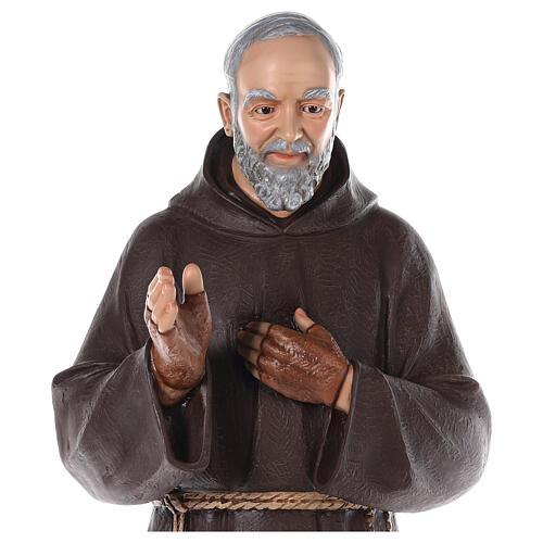 San Padre Pío fibra de vidrio coloreada 110 cm ojos vidrio 2