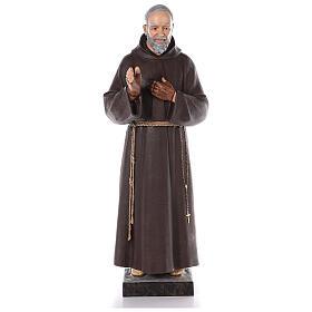 Saint Padre Pio fibre de verre colorée 110 cm yeux verre s1