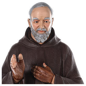 Saint Padre Pio fibre de verre colorée 110 cm yeux verre s3