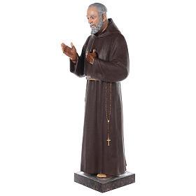 Saint Padre Pio fibre de verre colorée 110 cm yeux verre s5