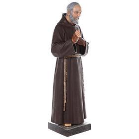 Saint Padre Pio fibre de verre colorée 110 cm yeux verre s7