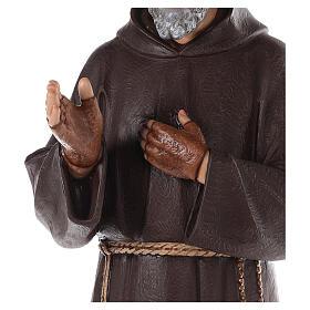 Saint Padre Pio fibre de verre colorée 110 cm yeux verre s8