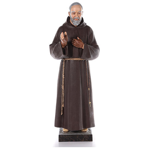 Saint Padre Pio fibre de verre colorée 110 cm yeux verre 1