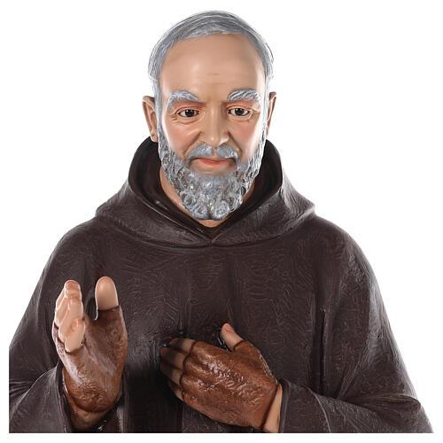Saint Padre Pio fibre de verre colorée 110 cm yeux verre 3