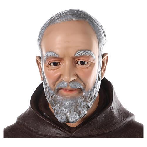 Saint Padre Pio fibre de verre colorée 110 cm yeux verre 4