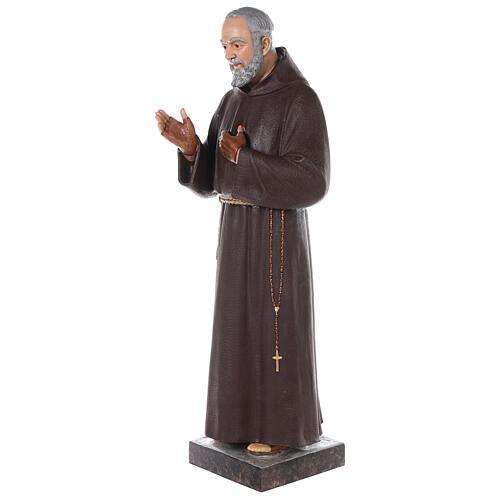 Saint Padre Pio fibre de verre colorée 110 cm yeux verre 5