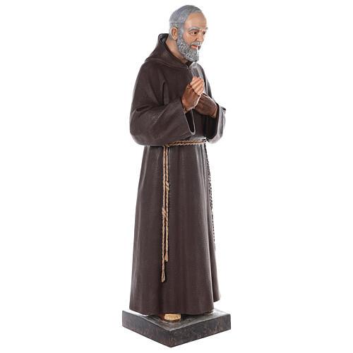 Saint Padre Pio fibre de verre colorée 110 cm yeux verre 7