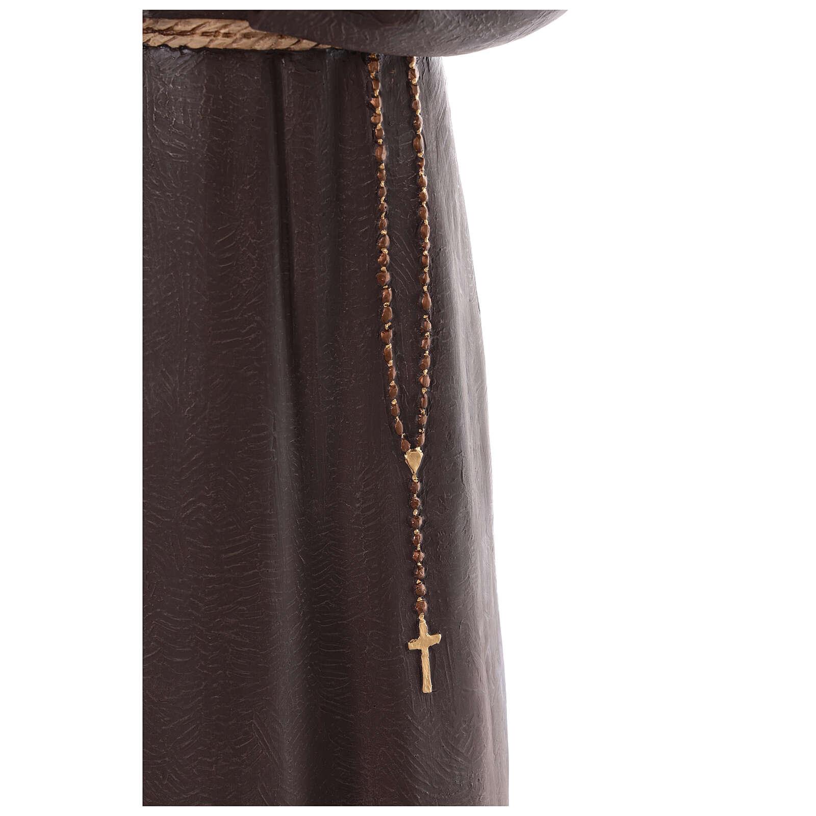 San Padre Pio vetroresina colorata 110 cm occhi vetro 4