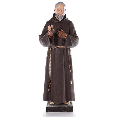 San Padre Pio vetroresina colorata 110 cm occhi vetro 1