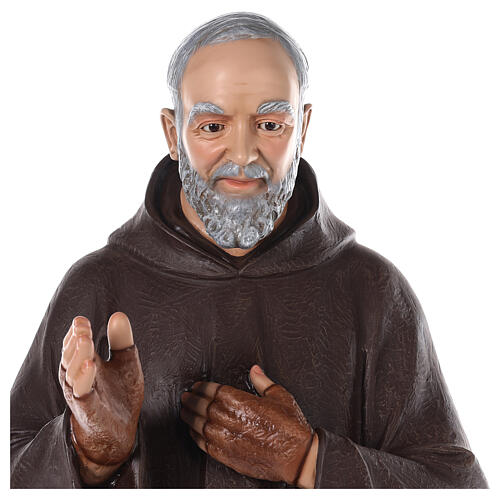 Padre Pio statue 110 cm, in colored fiberglass with glass eyes 3