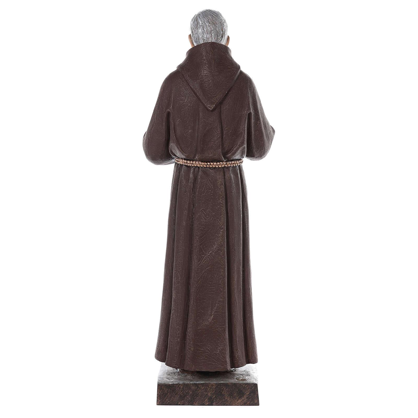 Estatua San Padre Pío fibra de vidrio coloreada 82 cm ojos vidrio 4
