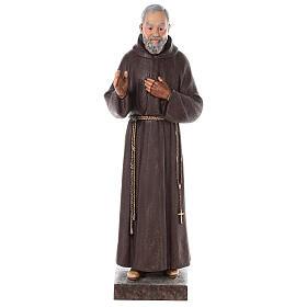 Estatua San Padre Pío fibra de vidrio coloreada 82 cm ojos vidrio s1