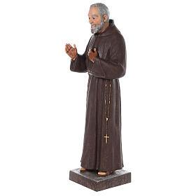Estatua San Padre Pío fibra de vidrio coloreada 82 cm ojos vidrio s4