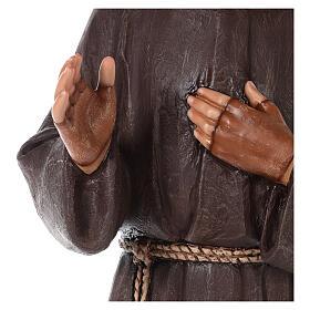 Estatua San Padre Pío fibra de vidrio coloreada 82 cm ojos vidrio s5